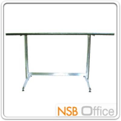 โต๊ะเอนกประสงค์ สี่เหลี่ยมยาว โฟเมก้า ขาตาย:<p>ขนาด ก120*ล75*ส75 ซม. มีขา 2 แบบคือ ขาพ่นดำหรือขาชุบโครงเมี่ยม</p> <p>(ผลิตขอบเป็นอลูมิเนียม เหมาะสำหรับงานโรงแรม)</p>