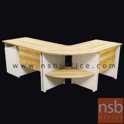 ชุดโต๊ะทำงานตัวแอล รุ่น SR-NCC1286 ขนาด 180W1*140W2 cm. เมลามีน สีเนเจอร์ทีค-ขาว:<p>1 ชุดประกอบไปด้วย โต๊ะทำงาน 2 ลิ้นชัก 120W*60D*75H cm. / โต๊ะเข้ามุม 2 ชั้น&nbsp; 70R*75H cm. / โต๊ะคอมพิวเตอร์&nbsp; 80W*60D*75H cm. ผลิตจากไม้ปาร์ติเกิ้ลบอร์ด ปิดผิวด้วยเมลามีน (MELAMINE RESIN FILM) หนา&nbsp; 25 มม.&nbsp; / แข็งแรง ทนทาน ป้องกันความชื้น / สามารถเลือกแอลซ้ายหรือขวาแอลได้ตามต้องการ&nbsp;</p>