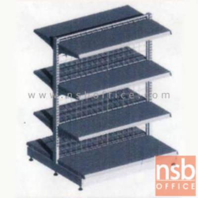 ชั้นเหล็กซุปเปอร์มาร์เก็ต 2 หน้า 4+4 แผ่นชั้น สูง 150 cm.  (หนา 0.5 mm.) แบบตัวตั้ง และตัวต่อ:<p>ขนาด 90W*90D*150H cm. / ชั้นเหล็กซุปเปอร์มาร์เก็ตวางได้สองด้านมีแผ่นชั้น 4+4 แผ่น สามารถปรับระดับได้&nbsp; มีเหล็กหนา 0.5 มม. / ตะแกรงด้านหลังมีความถี่ ขนาด (50*100 มม.) ขนาดของลวด Di 3 mm. /&nbsp;<span>แผ่นชั้นผลิตสีขาว / โครงเสาผลิต 6 สีคือ สีแดง ส้ม น้ำเงิน เหลือง ขาว และเขียวบางจาก (กรณีต้องการผลิตแผ่น</span><span>ชั้นตามสีโครงเสา สามารถผลิตได้กรณีมีจ</span><span>ำนวนมากกว่า 10 ตัวค่ะ)</span></p>