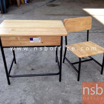 ชุดโต๊ะเก้าอี้นักเรียน ระดับอนุบาล หน้าไม้ยางพารา (มอก.):<p>1 ชุด ประกอบด้วย โต๊ะ ขนาด 60W*40D*54H cm. ,เก้าอี้ ขนาด 30W*34D*30H cm. โต๊ะและเก้าอี้ไม้ยางพารา&nbsp; โครงขาเหล็กพ่นสี</p>