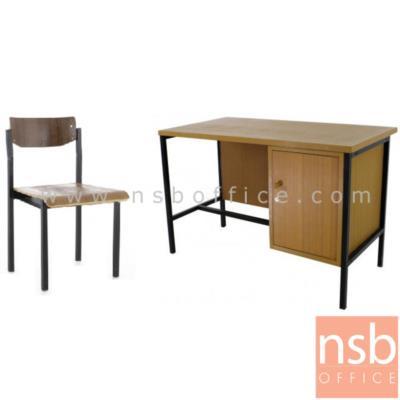 ชุดโต๊ะทำงานพนักงานข้าราชการ ครุภัณฑ์โต๊ะระดับ 1-2 ขนาด 120W*60D*75H cm. พร้อมเก้าอี้:<p>ชุดโต๊ะทำงานพนักงาน ข้าราชการ ครุภัณฑ์โต๊ะระดับ 1-2 /&nbsp;ประกอบด้วย โต๊ะทำงานไม้ขาเหล็ก มีช่องเก็บของบานเปิด ขนาด&nbsp;120W*60D*75H cm&nbsp;และเก้าอี้ไม้ขาเหล็ก&nbsp;(เก้าอี้กรณีซื้อแยก ราคา 720 บาท)</p>