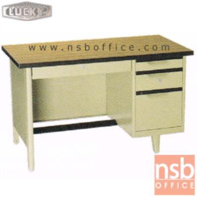 โต๊ะทำงานเหล็กหน้าโฟเมก้าลายไม้ 4 ลิ้นชัก ยี่ห้อ Lucky รุ่น NTC (ผลิต 3 , 3.5 และ 4ฟุต)  :<p>ผลิต 3 ขนาดคือ 3 , 3.5 และ 4ฟุต / ตัวโต๊ะเป็นสีครีมล้วน หน้า TOP ลามิเนตลายไม้ (PP 9325 PL) / มีกุญแจล็อคและที่พักเท้าด้านล่าง *ราคานี้ไม่รวมกระจก*</p>