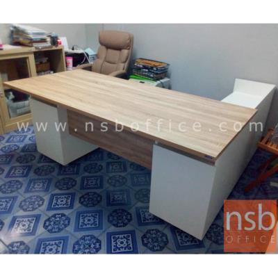 โต๊ะทำงานตัวแอล 2 ลิ้นชัก  รุ่น SR-18 ขนาด 180W1*179W2 cm. เมลามีน สีเนเจอร์ทีค-ขาว:<p>ขนาด 180W1*179D*75H cm. / ตู้ 2 ลิ้นชัก และตู้ขางบานเปิด มือจับอลูมินั่ม / ผลิตจากไม้ปาร์ติเกิ้ลบอร์ด ปิดผิวด้วยเมลามีน/ สามารถเลือกแอลซ้าย หรือขวาแอลได้ตามต้องการสีเนเจอร์ทีค-ขาว</p>