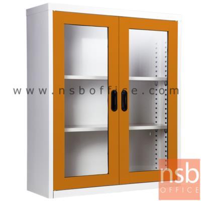 ตู้เอกสาร 2 บานเปิดกระจกสูง 105 ซม.:<p>ขนาด ก88*ล30*ส105 ซม./ภายในมี 2 แผ่นชั้นสามารถปรับระดับได้ ซึ่งสามารถรับน้ำหนักได้ชั้นละ 50 กก.</p>
