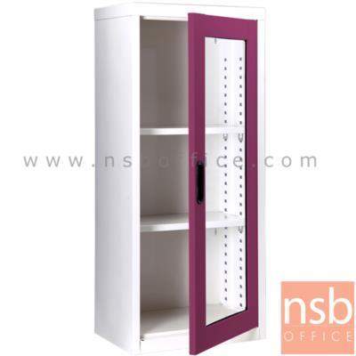 ตู้เอกสาร 1 บานเปิดกระจกสูง 105 ซม.:<p>ขนาด ก46.6*ล30*ส105 ซม./ภายในมี 2 แผ่นชั้นสามารถปรับระดับได้ ซึ่งสามารถรับน้ำหนักได้ชั้นละ 50 กก.</p>