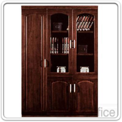 ตู้เอกสารไม้โอ๊คบนบานเปิดกระจก ล่างบานเปิดทึบและบานเปิดข้าง ขนาด 135W*40D cm. :<p>&nbsp;ขนาด 135W*40D*200H cm.&nbsp;</p>