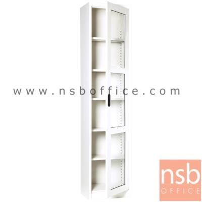 """ตู้เอกสาร 1 บานเปิดกระจกสูง 200 ซม.รุ่น MAX-042 :<p>ขนาด ก46.6*ล30*ส200 ซม./ภายในมี 5 แผ่นชั้นสามารถปรับระดับได้ ซึ่งสามารถรับน้ำหนักได้ชั้นละ 50 กก.&nbsp;ผลิต 8 สีคือ สีขาวมุก, สีดำ, สีแดง, สีม่วง, สีส้ม, สีฟ้า, สีเขียว และสีเทาฟ้า</p> <p><strong><span style=""""text-decoration: underline;"""">*กรณีเจาะยึดผนังเพิ่มใบละ 200 บาท (เฉพาะผนังปูนเท่านั้น)**</span></strong></p>"""