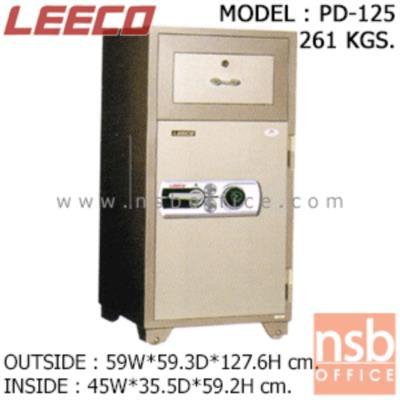 ตู้เซฟแคชเชียร์ 261 กก. ลีโก้ รุ่น LEECO-PD-125 มี 2 กุญแจ 1 รหัส (เปลี่ยนรหัสได้):<p>ตู้นิรภัย 2 กุญแจ 1 รหัส แบบมีลิ้นชักบน/ล่างบานเปิด เหมาะสำหรับร้านค้าและกิจการทั่วไป ตู้ประกอบด้วยด้านบนมีลิ้นชักพร้อมกุญแจล็อค สามารถบรรจุสิ่งของเข้าไปในตู้โดยไม่ต้องเปิดประตูออก /ด้านล่างมีบานเปิด ภายในมีลิ้นชักพร้อมกุญแจล็อค /ตู้เซฟผลิตจากเหล็กกล้าชนิดพิเศษ ทนต่อการกัดกร่อนและป้องกันการเกิดสนิม สีที่ใช้พ่นตู้นิรภัยคือ สีอะคริลิกแฮมเมอร์ (ACRYLIC HAMMER) สามารถกันไฟได้นาน 2 ชั่วโมง **ตัวหมุนรหัสสีดำ สามารถเปลี่ยนรหัสได้**</p>