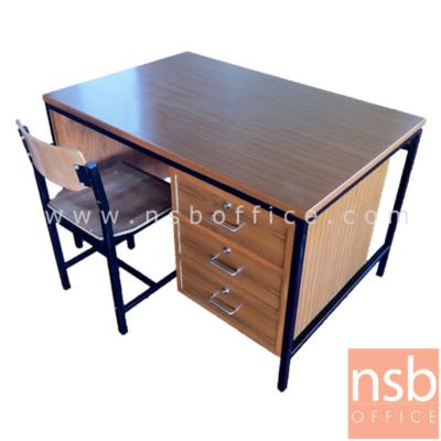 ชุดโต๊ะทำงานข้าราชการครู 3 ลิ้นชัก 120W*60D*75H cm พร้อมเก้าอี้:<p>ชุดโต๊ะทำงานข้าราชการ ครุภัณฑ์โต๊ะครู / ประกอบด้วยโต๊ะไม้โครงเหล็ก 3 ลิ้นชักขวา ขนาด 120W*60D*75H cm และเก้าอี้ไม้โครงเหล็ก มีพนักพิง (เก้าอี้จำหน่ายแยก 720 บาท)</p>