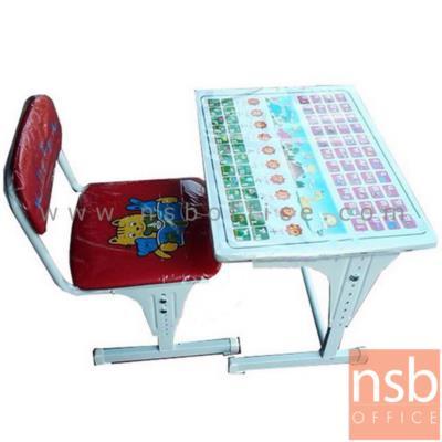โต๊ะเขียนหนังสือเด็กมีอักษรหน้าโต๊ะ ปรับระดับได้ รุ่น NSB-CHILD พร้อมเก้าอี้ :<p>ประกอบด้วย โต๊ะ 1 ตัว พร้อมเก้าอี้ 1 ตัว /ขนาดโต๊ะ 60W*45D*54H cm. มีช่องโล่งใต้ท็อปโต๊ะสำหรับวางอุปกรณ์ /ขนาดเก้าอี้ 34.5W*43D*31H(1)62H(2)H cm. หน้าโต๊ะมีอักษรสำหรับอ่าน ก-ฮ, A-Z และตัวเลข /ผลิต 2 สีคือสีน้ำเงิน และสีแดง</p>