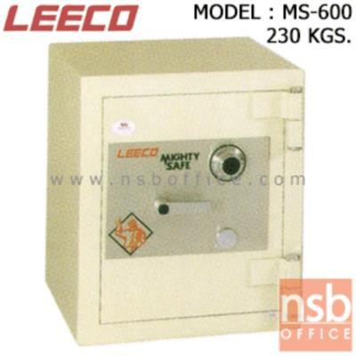 ตู้เซฟนิรภัย 230 กก. ลีโก้ รุ่น LEECO-MS-600 มี 1 กุญแจ 1 รหัส (เปลี่ยนรหัสไม่ได้):<p>ตู้นิรภัยขนาดใหญ่ 1 กุญแจ 1 รหัส ภายในประกอบด้วยลิ้นชักพร้อมกุญแจล็อค มีชั้นวางของปรับระดับสูง-ต่ำได้ คุณสมบัติพิเศษคือขอบตู้หนากว่าทุกรุ่น หน้าบานประตูใช้แผ่นเหล็กหนา 10 มม. ชุดล็อคทำจากเหล็กเพลาตัน/หูบานพับทำจากเหล็กม้วนหนา 8 มม. สีที่ใช้พ่นตู้นิรภัยคือ ประเภทโพลียูริเทน(POLYURETHAN) สามารถกันไฟได้นาน 1 ชั่วโมง **ตัวหมุนสีเงิน ไม่สามารถเปลี่ยนรหัสได้**</p>