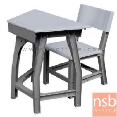 """ชุดโต๊ะนักเรียนพลาสติก ทรงสี่เหลี่ยมคางหมู รุ่น TH-S ระดับชั้นอนุบาล:<p>1 ชุดประกอบด้วยโต๊ะ + เก้าอี้ /โต๊ะขนาด 66W1(ด้านคนนั่ง)*34W2*40D*54H cm. /เก้าอี้ขนาด 35W*30D*30.2H1(สูงถึงที่นั่ง)*54.5H2(สูงถึงพนักพิง) cm. /โต๊ะผ่านการทดสอบตามมาตรฐาน BS.4875 &ndash; เก้าอี้ผ่านมาตรฐานอุตสาหกรรม มอก.1495-2541 /โครงสร้างผลิตจากพลาสติก(POLYPROPYLENE) เป็นระบบ FULLY KNOCKDOWN 100% สามารถถอดเปลี่ยนได้ทุกชิ้น มีความปลอดภัยสูง มุมเหลี่ยมไม่คม **ซึ่งรูปแบบถูกออกแบบมาเพื่อรองรับการปรับรูปการเรียนการสอนเป็นกลุ่ม นำมาจัดเรียงได้หลายรูปแบบ</p> <p><span style=""""text-decoration: underline; font-size: medium;""""><strong><span style=""""color: #ff0000; text-decoration: underline;"""">**กรณีตั้งเป็นชุดโต๊ะวงกลมแบบกลุ่ม ต้องซื้อ 8 ตัว**</span></strong></span></p>"""