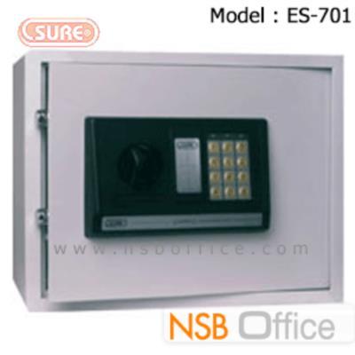 ตู้เซฟดิจิตอล SR-ES-701 (1 รหัสกด / ปุ่มหมุนบิด) ขนาด 35W*25D*25H cm.:<p>ขนาด 35W*25D*25H cm. ระบบกุญแจฉุกเฉินกรณีแบตเตอรี่หมด หรือลืมรหัส / มีระบบล็อคอัตโนมัติกรณีกดรหัสผิด 3 ครั้ง ใช้แบตเตอรี่ AA 4 ก้อน&nbsp;<br />น้ำหนัก 10.5 กก.</p>