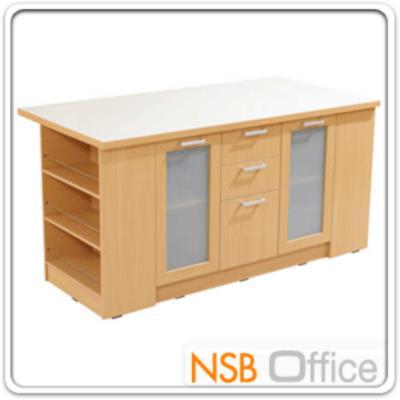 โต๊ะกลางห้องครัว 180 ซม. รุ่น SR-TMB-1800 :<p>ขนาด 180W*90D*90H cm. 2 บานเปิดกระจก 3 ลิ้นชักมือจับอลูมิเนียม และด้านข้างมี 3 ช่องโล่งเอนกประสงค์/หน้าท็อปโต๊ะเมลามีนสีขาว /โครงตู้ปิดผิวด้วยเมลามีน ชนิดพิเศษทนความร้อนสูง ทนต่อรอยขีดข่วน และกรด ด่าง /TOP สีขาว โครงตู้ผลิต 2 สีคือสีบีช และสีโอ๊ค</p>