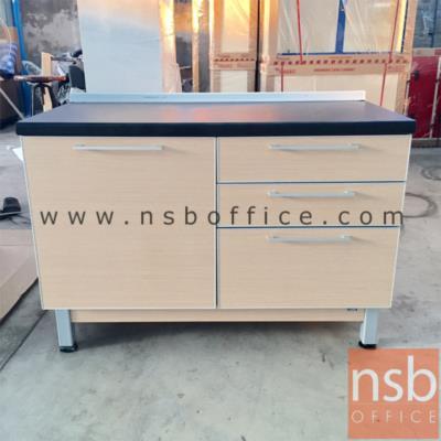 ตู้ครัวเคาน์เตอร์ 120 ซม. รุ่น SR-TDK120 เมลามีน:<p>ขนาด 120W*60D*84H cm. 1 บานเปิด 3 ลิ้นชักขวา /TOP เมลามีนสีดำ โครงตู้ปิดผิวด้วยเมลามีน ชนิดพิเศษทนความร้อนสูง ทนต่อรอยขีดข่วน และกรด ด่าง /ชุดรางลิ้นชักลูกปืน 2 ตอนดึงออกมาได้สุด /บานพับปิดนุ่มนวล /โครงตู้ผลิตสีบีช</p>