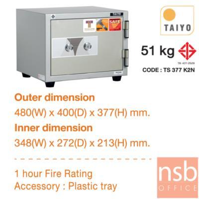 ตู้เซฟ TAIYO 51 กก. 2 กุญแจ ไม่มีรหัส   (TS 377 K2N มอก.):<p>TAIYO TS377K2N / มาตรฐาน ม.อ.ก. / ภายนอก 480(W)*400(D)*380(H) mm ภายใน 348(W)*272(D)*213(H) mm / เปลี่ยนรหัสไม่ได้</p>