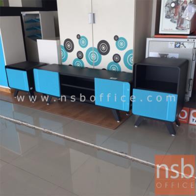 ตู้ไซด์บอร์ดเหล็ก 2 บานเปิด 1 ชั้นวางของ:<p>ผลิตขนาด 150W*40.7D*52H cm. ทั้งตัวเป็นสีดำล้วนหน้าบานเปิด ผลิต 3 สี คือ สีขาว-ดำ/สีส้ม-ดำและสีฟ้า-ดำ</p>