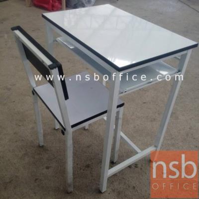 ชุดโต๊ะนักเรียนเด็กโต ประถม/มัธยม รุ่น TC-05 โครงเหล็กสีขาว โฟเมก้าขาว:<p>ขนาดโต๊ะ 60W*40D*75H cm. ขนาดเก้าอี้ 34W*35D*77H cm (ความสูงที่นั่ง 44H cm ที่นั่งลึก 32D cm) โครงเหล็กพ่นขาว หน้าโต๊ะโฟเมก้าขาว โต๊ะมีช่องใส่ของ</p>