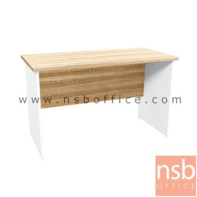 โต๊ะทำงานโล่ง 120W, 150W cm.  รุ่น SR-KD1215 สีเนเจอร์ทีค-ขาว:<p>ผลิต 2 ขนาด คือ &nbsp;120W*60D*75H cm. และ 150W*60D*75H cm. ผลิตจากไม้ปาร์ติเกิ้ลบอร์ด ปิดผิวด้วยเมลามีน (MELAMINE RESIN FILM) หนา&nbsp; 25 มม.&nbsp; / แข็งแรง ทนทาน ป้องกันความชื้น&nbsp;</p>