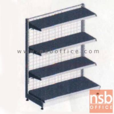 ชั้นเหล็กซุปเปอร์มาร์เก็ต รุ่น FS1-510, NS1-510  (หนา 0.5 mm.) แบบตัวตั้ง และตัวต่อ:<p>ขนาด 90W*45D*120H cm. / ชั้นเหล็กซุปเปอร์มาร์เก็ตมีแผ่นชั้น 4 แผ่น สามารถปรับระดับได้ &nbsp;มีเหล็กหนา 0.5 มม. / ตะแกรงด้านหลังมีความถี่ ขนาด (50*100 มม.) ขนาดของลวด Di 3 mm. /<span>แผ่นชั้นผลิตสีขาว / โครงเสาผลิต 6 สีคือ สีแดง ส้ม น้ำเงิน เหลือง ขาว และเขียวบางจาก (กรณีต้องการผลิตแผ่น</span><span>ชั้นตามสีโครงเสา ใช้เวลา 10 วัน)</span></p>