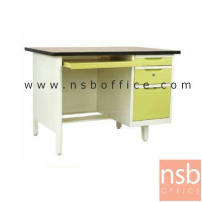 โต๊ะคอมฯเหล็ก 3  ลิ้นชัก 3 ฟุต , 3.5 ฟุต,และ 4 ฟุต พร้อมรางคีย์บอร์ด  หน้าTOP ไม้เมลามีน  :<p>ผลิต 3 ขนาด คือ &nbsp;3 ฟุต , 3.5 ฟุต,และ 4 ฟุต หน้า TOP ไม้เมลามีน / โครงผลิตจากเหล็ก หนา 0.5 มม. /โครงสีขาวมุก หน้าบานสีสัน มี 3 ลิ้นชักด้านซ้าย และ 1 รางคีย์บอร์ด</p>