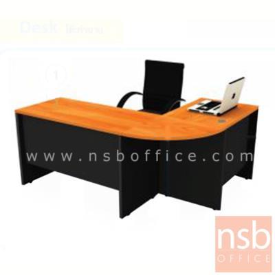 โต๊ะทำงานตัวแอล  รุ่น SMART  ขนาด 180W1*140W2 cm. เมลามีน:<p>ขนาดรวม 180W1*140W2*60D*75H cm เมลามีน / ตัวมุมเป็นแผ่นไม้ ชุด 3 ชิ้นประกอบด้วย โต๊ะทำงาน 2 ลิ้นชัก 120W*60D*75H cm โต๊ะคอมพิวเตอร์ 80W*60D*75H cm และแผ่นไม้มุมโค้ง R60 cm / เลือกติดตั้งแอลซ้ายหรือแอลขวา</p>