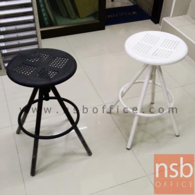 เก้าอี้บาร์เหล็กเตี้ยปรับระดับแกนเกลียว  :<p>ขนาด 30Di*52H cm. ความสูงจากที่พักเท้าถึงพื้น &nbsp;22 cm. เก้าอี้สีดำผลิตผิวทราย / เก้าอี้สีขาวผลิตผิวมันเงา</p>