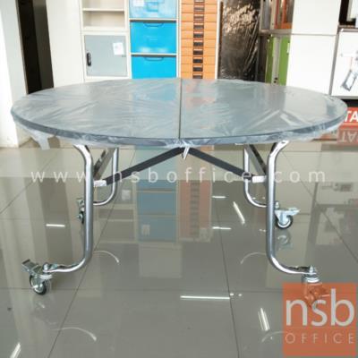 โต๊ะกลมหน้าโฟเมก้าขาว พับได้ มีล้อเลื่อนใหญ่ 4, 5, 6 ฟุต (โต๊ะพับแตงโม):<p>โต๊ะกลมแบบพับได้ หน้าโฟเมก้าขาว ขนาด 4,5,6 ฟุต / หน้าโต๊ะเป็นไม้เต็มแผ่น ติดขอบด้วยระบบเอจแบรนด์ / ขาเหล็กหนา 1.1 มม. ชุบโครเมี่ยมอย่างดี แข็งแรง /&nbsp;มีล้อเลื่อน 4 ล้อใหญ่ เหมาะสำหรับงานจัดเลี้ยงหรือร้านอาหาร / พับกลางโต๊ะ เลื่อนไปเก็บได้&nbsp;(ผลิตขอบเป็นอลูมิเนียม เหมาะสำหรับงานโรงแรม)</p>