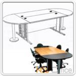 A05A099:โต๊ะประชุมทรงแคปซูล (หัวโค้งข้างตรง) 8-10 ที่นั่ง เมลามีน ขาเหล็ก (270W*120D, 330W*120D, 260W*120D)