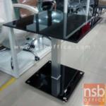 A09A094:โต๊ะกระจกเหลี่ยมสีชาดำ Di 70 cm. ฐานรองกระจกสีชาดำ รุ่น GH-K3 โครงเหล็กชุบโครเมี่ยม