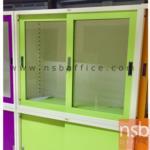 E30A002:ตู้เอกสารบานเลื่อนกระจกเตี้ย 87.8H cm. ยี่ล้อเวลโก(WELCO) ขนาด 3, 4 และ 5 ฟุต