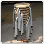 B09A042:เก้าอี้สตูลกลม หน้าไม้ยางพารา HA-04W (ซ้อนเก็บได้)