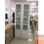 L03A190:ตู้เอกสาร 2 บานบนเปิดกระจกล่าง 2 บานเปิดทึบ ขนาด 80W*38D*195H cm.