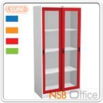 ตู้เหล็ก 2 บานเลื่อนกระจกสูง 182.9H cm. รุ่น SURE-CLK-4 หน้าบานสีสัน