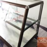 ตู้กระจกข้าวแกงหน้าเฉียงมุมมน บานเลื่อน มีแผ่นชั้น โครงอลูมิเนียม  (3,4,5,6 ฟุต *55D*60H cm.)