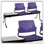 B06A052:เก้าอี้นั่งคอย โพลี่ล้วน ขาโครเมี่ยม มีวางของ B426