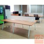 A04A161:ชุดโต๊ะทำงาน 4 ที่นั่ง   ขนาด 240W cm. พร้อมมินิสกรีนกั้นเฉพาะด้านหน้า  ขาทรงไข่ทรงวีคว่ำ