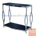 A09A112:โต๊ะหน้ากระจกสีดำ รุ่น DS-733 ขนาด 80W ,120W cm.  โครงเหล็กชุบโครเมี่ยม