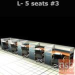 A04A116:ชุดโต๊ะทำงานกลุ่มตัวแอล 5 ที่นั่ง 762W*124D*120H cm. พร้อมพาร์ทิชั่นครึ่งกระจกขัดลาย