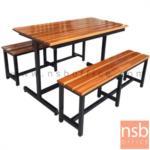 A17A082:โต๊ะโรงอาหารไม้สักตีระแนง รุ่น SOUTHCAROLINA (เซาธ์แคโรไลนา) ขนาด 120W cm. ขาเหล็กตัวเจ