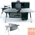 A30A004:โต๊ะผู้บริหาร พร้อมโต๊ะต่อข้าง หน้ากระจก รุ่น MS-200EAC-G บังตาเหล็กพ่นดำ (สินค้ารอผลิต 25 วัน)