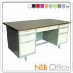 E22A007:โต๊ะทำงานเหล็กหน้าเหล็ก PVC 7 ลิ้นชัก