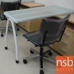 A18A048:โต๊ะทำงาน  ทรงหน้ากระจกเปลือย 120W cm. (พร้อมตู้เอกสารด้านข้าง ล้อเลื่อนพับเก็บได้) ขาเหล็ก