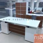 A34A004:โต๊ะทำงานผู้บริหาร 4 ลิ้นชัก 180W*80D cm รุ่น S-KDZ ลายไม้ซีบราโน่-ขาว