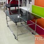 B13A004:โต๊ะกลางกระจกสีชา  รุ่น B2136 ขนาด 90W cm. โครงเหล็กเหลี่ยม