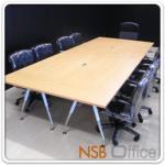 A05A084:โต๊ะประชุม 10 ที่นั่ง 360W*150D cm. มีช่องปลั๊กไฟ ขาเหล็กวีคว่ำโครเมี่ยมขาว