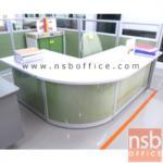 A11A011:โต๊ะเคาเตอร์นั่ง L-Shape 203.5 ซม. พาร์ทิชั่นสีสัน หน้าโต๊ะเมลามีน