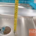 อ่างล้างจาน 2 หลุม รุ่น SN-WBC955-3 สเตนเลส มีที่คว่ำจาน พร้อมก๊อกน้ำ