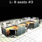 A04A126:ชุดโต๊ะทำงานกลุ่มตัวแอล 8 ที่นั่ง 610W*246D*120H cm. พร้อมพาร์ทิชั่นครึ่งกระจกขัดลาย