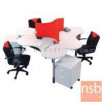 A27A014:โต๊ะทำงานกลุ่ม 3 ที่นั่ง 250W*150D*115H cm. รุ่น IDO-SET ขาเหล็กกลมพ่นสี (ไม่รวมเก้าอี้)
